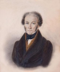 This is the only known portrait of Louis-benjamin Audemars.  It is a watercolour painted in 1833, the year of his death.  It is the original of the many photographic copies of copies (often distorted) which circulated in the 20th Century.